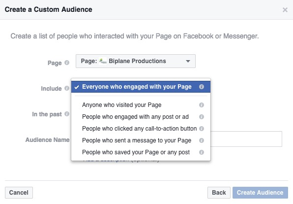 Custom Audience Facebook interactions